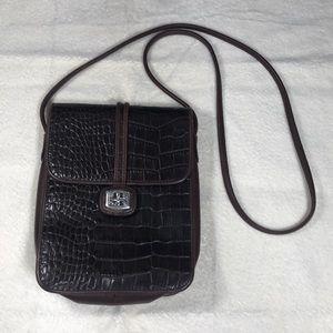 Brighton Brown Leather Croc Cross Body Bag  SB25